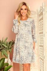 Zwiewna Sukienka z Dekoltem na Plecach we Wzory - Beżowo Niebieska