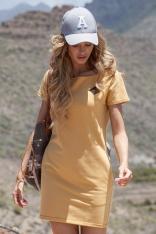 Żółta Dopasowana Mini Sukienka z Ozdobną Naszywką