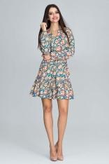 Zwiewna Wzorzysta Sukienka z Bufiastym Rękawem z Paskiem - Wzór 80
