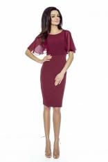 Bordowa Ołówkowa Sukienka z Szyfonowym Rękawkiem
