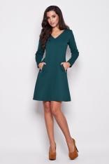 Zielona Dzianinowa Stylowa Sukienka z Kieszeniami na Suwak