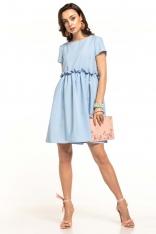 Jasnoniebieska Letnia Wygodna Sukienka z Marszczonym Dołem