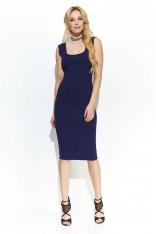 Granatowa Elegancka Ołówkowa Midi Sukienka z Przeszyciami