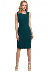 Zielona Wieczorowa Ołówkowa Sukienka z Ciekawym Dekoltem