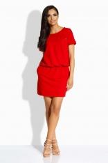 Czerwona Sukienka ze Ściągaczem i Kieszonką