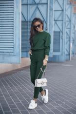 Dresowy Komplet Nierozpinana Bluza i Dopasowane Spodnie - Zielony