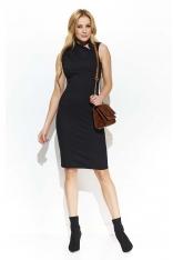 Czarna Elegancka Sukienka z Efektownym Kołnierzykiem