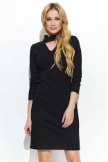 Czarna Elegancka Sukienka z Niebanalną Stójką