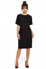 Czarna Sukienka Dresowa z Zakładkami