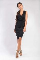 Czarna Asymetryczna Dopasowana Sukienka Kopertowa