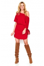Czerwona Kimonowa Krótka Sukienka Dzianinowa z Asymetrycznym Dołem