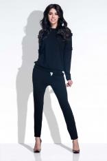 Czarny Kobiecy Zestaw Bluzka i Spodnie