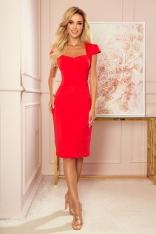 Czerwona Ołówkowa Sukienka z Prostokątnym Dekoltem