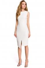 Ecru Wyjściowa Dopasowana Sukienka z Asymetrycznym Rozporkiem