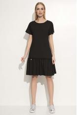 Czarna Luźna Midi Sukienka Wykończona Falbanką