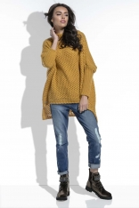 Miodowy Sweter Oversize z Golfem