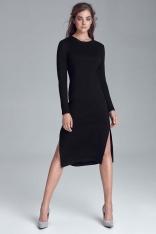 Czarna Stylowa Sukienka Dzianinowa z Rozporkami