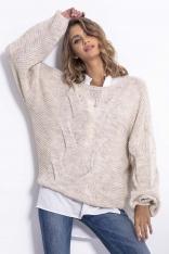 Beżowy Luźny Oversizowy Sweter w Przeplatane Warkocze