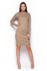 Beżowa Casualowa  Prążkowana Sukienka z Golfem