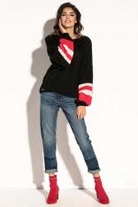 Czarny Oversizowy Sweter z Bufiastym Rękawem w Paski
