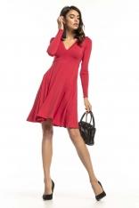 Czerwona Dzianinowa Rozkloszowana Sukienka z Dekoltem V