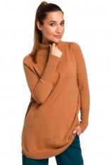 Sweter-Tunika z Półgolfem - Karmelowy