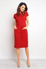 Czerwona Casualowa Sukienka z Kieszeniami i Wiązaniem