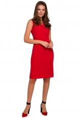 Czerwona Ołówkowa Sukienka w Serek bez Rękawów