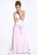 Długa Różowa Spódnica Dzianinowa z Wiązaną Szarfą