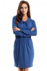 Niebieska Sukienka Dzianinowa z Wiązaniem przy Dekolcie