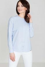 Błękitna Bluzka Koszulowa z Asymetrycznym Karczkiem