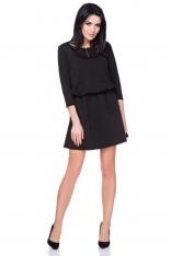 Czarna Sukienka Codzienna z Suwakiem