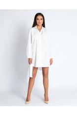 Biała Luźna Sukienka o Kroju Koszuli z Paskiem