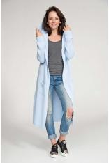 Błękitny Sweter Długi bez Zapięcia z Kapturem