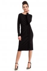 Czarna Sukienka Elegancka z Asymetryczną Nakładką