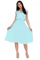 Niebieska Plisowana Sukienka z Kopertowym Dekoltem
