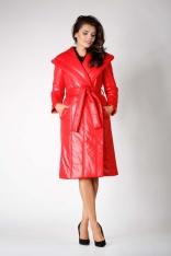 Czerwony Długi Pikowany Płaszcz z Kapturem