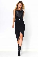 Czarna Sukienka Midi z Łączonych Materiałów