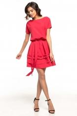 Malinowa Rozkloszowana Sukienka z Falbankami