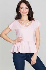 Różowa Bluzka Kobieca z Falbanką