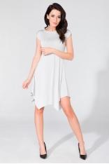 Letnia Biała Asymetryczna Sukienka Dzianinowa