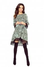 Khaki Sukienka Trapezowa Wykończona Koronką
