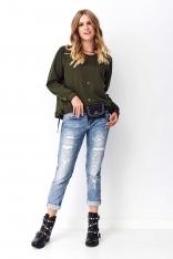 Krótka Asymetryczna Bluza z Ozdobnymi Tasiemkami - Khaki
