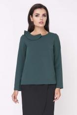 Zielona Elegancka Bluzka Wizytowa z Falbanką przy Dekolcie