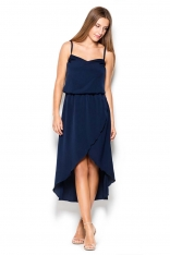 Granatowa Sukienka Midi z Zakładanym Dołem na Ramiączkach