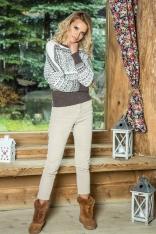 Espresso Biały Nietoperzowy Sweter z Kolorowym Wzorem