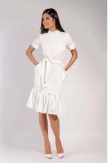 Ecru Midi Sukienka na Stójce z Falbankami