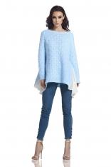 Błękitny Asymetryczny Oversizowy Sweter z Szyfonową Falbanką