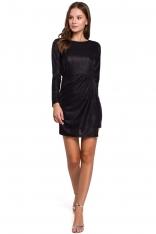 Czarna Dopasowana Asymetryczna Sukienka z Połyskiem