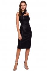 Czarna Ołówkowa Sukienka Wieczorowa z Połyskiem